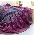 Charming Purple Bohemian Style Outdoor Multi Usage Round Beach Throw Mat