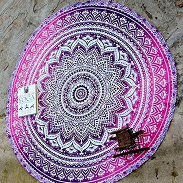 Purple Indian Mandala Outdoor Multi Usage Beach Round Throw Mat