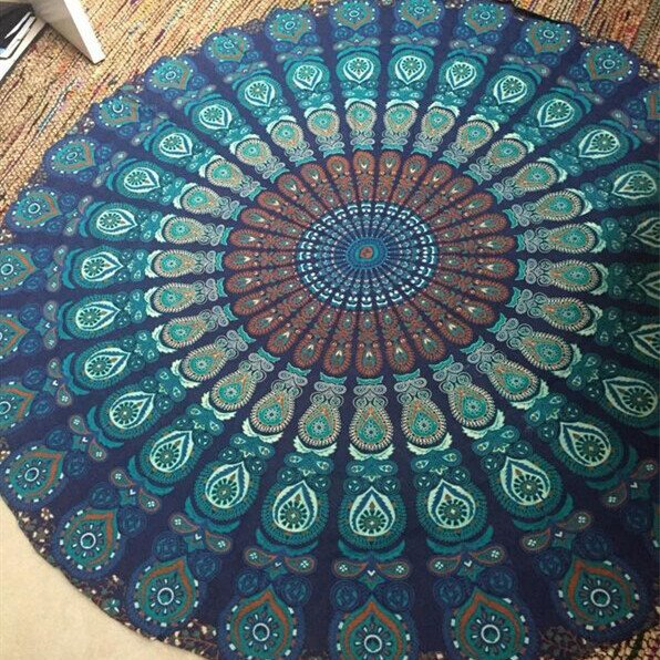 Decorative Bohemian Style Vintage Round Outdoor Multi Usage Beach Throw Mat