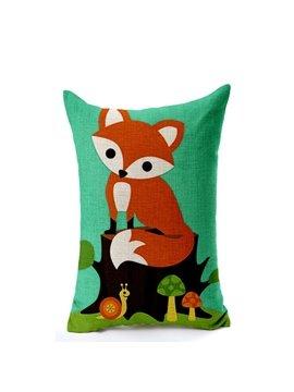 Adorable Cartoon Fox Print Cotton Throw Pillow Case
