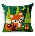 Cute Fox Reactive Printing Throw Pillow Case