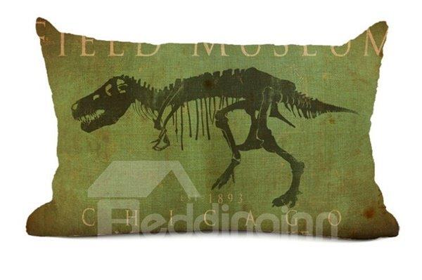 Retro Style Dinosaur Print Green Throw Pillow Case
