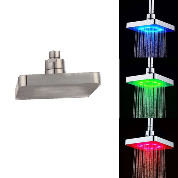 Square Ceiling Mounted Led Temperature Sensor 3 Colors Changing Bathroom Shower Head 12271099