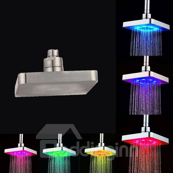 Square Ceiling Mounted 7 Vibrant LED Colors Change Automatically Every Few Seconds Shower Head beddinginn