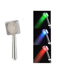 Square LED Hand-Held Temperature Sensor 3 Colors Changing Bathroom Shower Head
