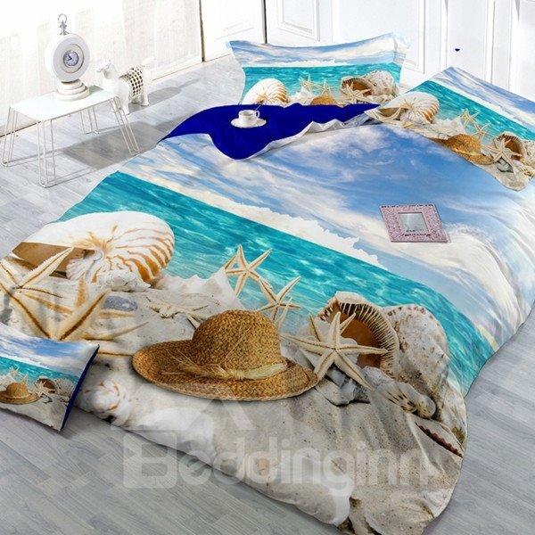 Holiday Beach Digital Print Cotton 2-Piece Pillow Cases