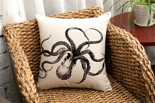 Retro Simple Sketch Octopus Print Throw Pillow Case