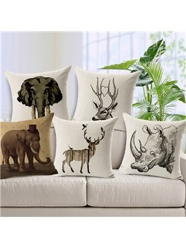 Minimalist Style Sketch Animal Throw Pillow Case