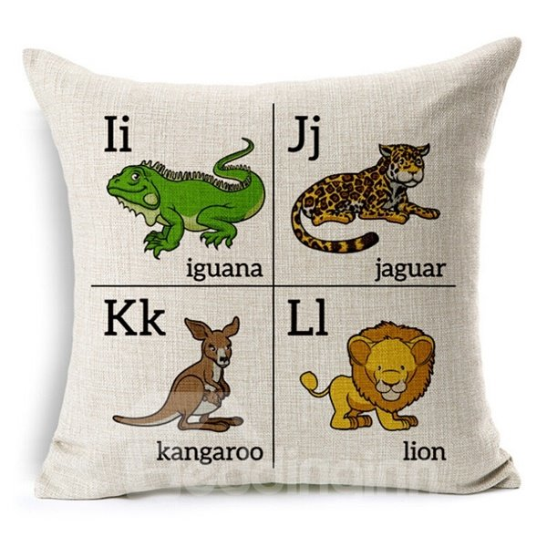 Unique Letter and Animal Print Throw Pillow Case
