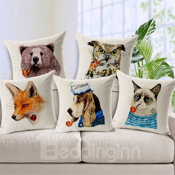 Funny Animal Print Square Throw Pillow Case