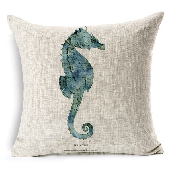 Minimalist Style Marine Life Print Throw Pillow Case