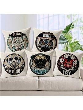 Unique Design Animal Badge Print Throw Pillow Case