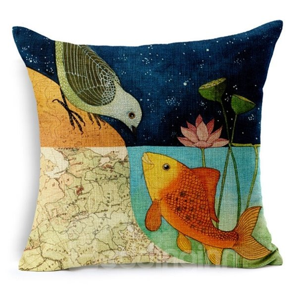 Fancy Cartoon Birds Print Throw Pillow Case