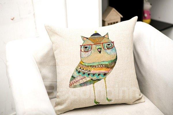 Special Design Cartoon Owl Print Throw Pillow Case