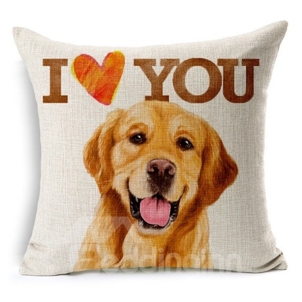 Adorable Letter and Animal Print Throw Pillow Case