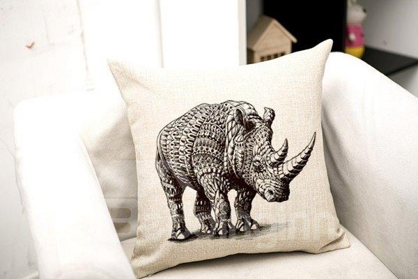 Sketch Style Elephant Print Throw Pillow Case
