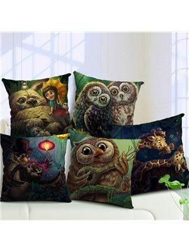 Super Lovely Owl Print Throw Pillow Case
