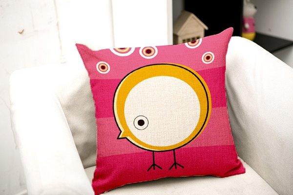 Simple Design Cartoon Owl Print Throw Pillow Case