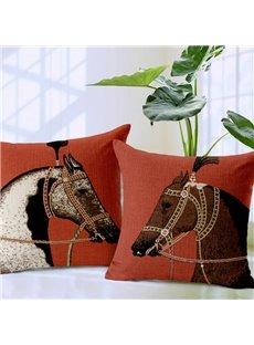 Classic Retro Horse Print Throw Pillow Case