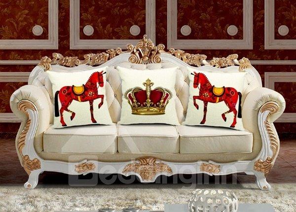 Noble Retro Horse Print Throw Pillow Case
