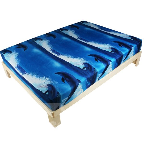Stunning Dolphin Print 3D Polyester Fitted Sheet