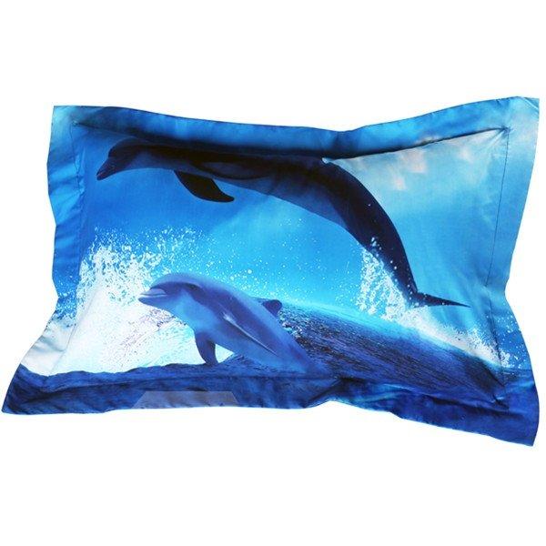 Vivid Dolphin Print Blue 2-Piece Polyester Pillow Cases