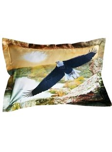 Creative Flying Eagle Print 2-Piece Polyester Pillow Cases