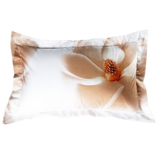 100% Cotton White Magnolia Print 2-Piece Pillow Cases