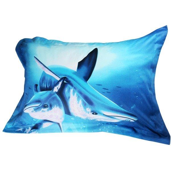 Fabulous Dolphin Print Cotton 2-Piece Pillow Cases