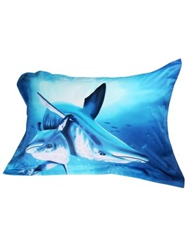 Fabulous Dolphin Print Cotton 2-Piece Pillow Cases