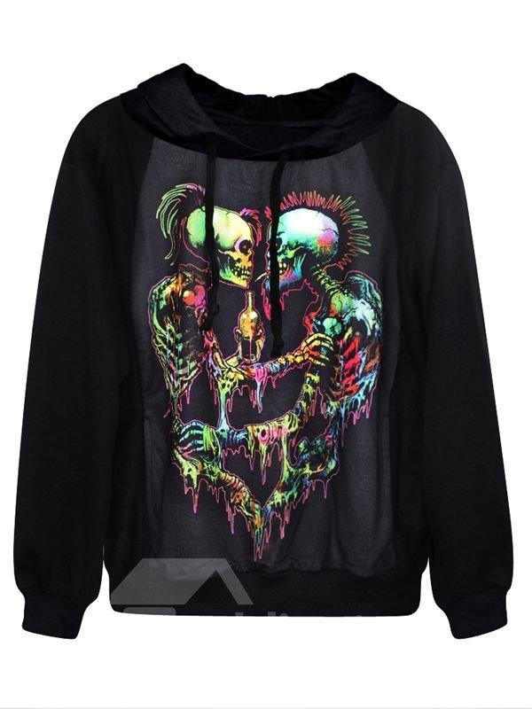 Fashion Long Sleeve Two Skulls Pattern Black 3D Painted Hoodie
