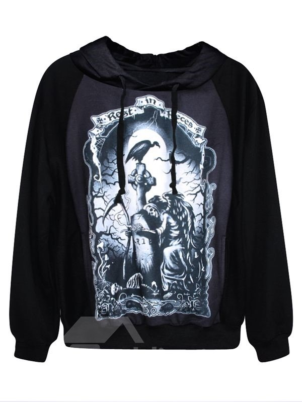 Unique Long Sleeve Novelty Pattern Black 3D Painted Hoodie