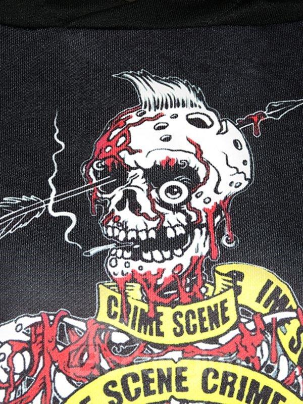 Long Sleeve Bleeding Skull Solider Pattern Black 3D Painted Hoodie