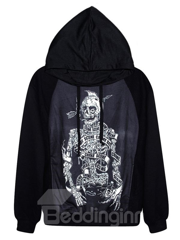 Cool Long Sleeve Horror Solider Pattern Black 3D Painted Hoodie