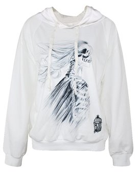 Modern Long Sleeve Side Face of Skull Girl Pattern White 3D Painted Hoodie