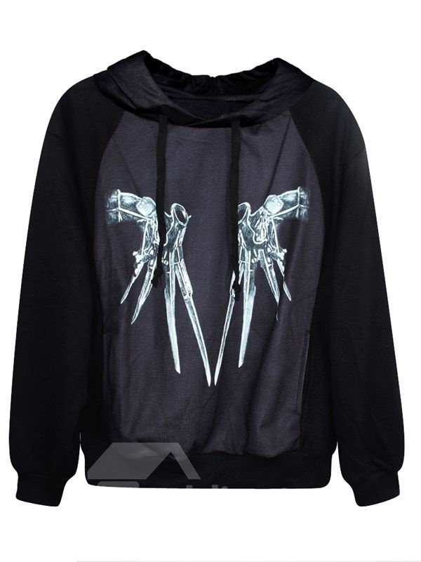 Concise Long Sleeve Novetly Pattern 3D Painted Hoodie