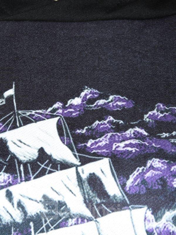 Super Long Sleeve Sailing Pattern 3D Painted Hoodie