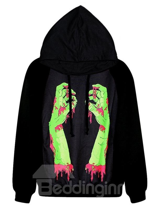 Super Long Sleeve Bleeding Hand Pattern 3D Painted Hoodie