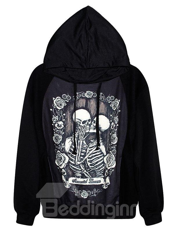 Long Sleeve Two Skulls Pattern 3D Painted Hoodie