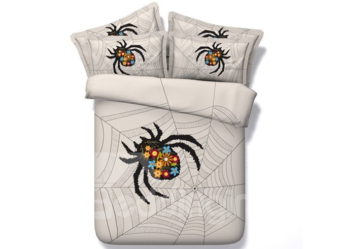 Chic Spider Web Print 4-Piece Duvet Cover Sets