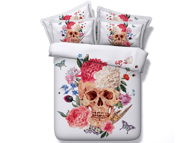 Stunning Flower and Skull Print 4-Piece Duvet Cover Sets