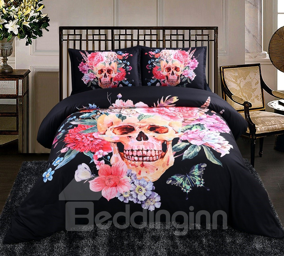 Blooming Flower and Skull Print 4-Piece Duvet Cover Sets