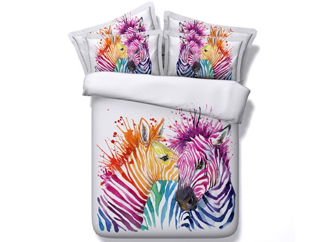 Heart-warming Zebra Couple Print 4-Piece Duvet Cover Sets