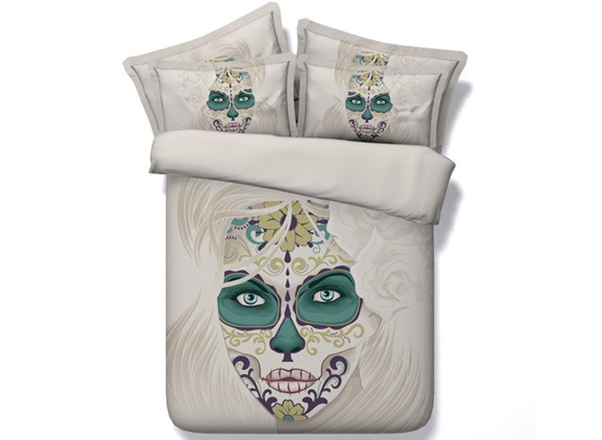 Chic Woman Skull Print 4-Piece Duvet Cover Sets