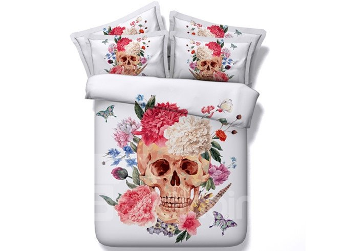 Stunning Flower on Skull and Butterfly Print 5-Piece Comforter Sets