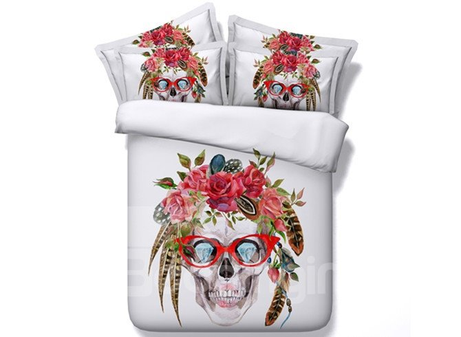 Exotic Style Skull with Glasses Print 5-Piece Comforter Sets