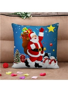 Joyful Santa Claus Print Throw Pillow Case