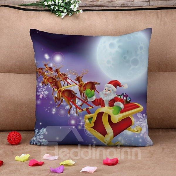 Festal Santa and Sleigh Print Throw Pillow Case