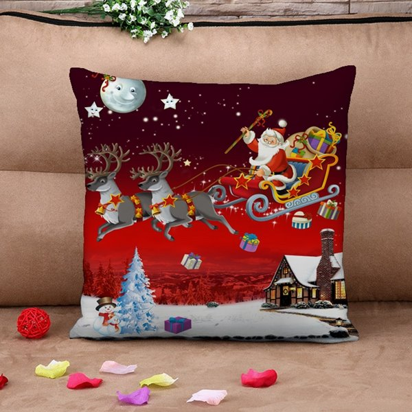 Festive Santa Claus Reindeer Flying Across Sky Print Throw Pillow Case