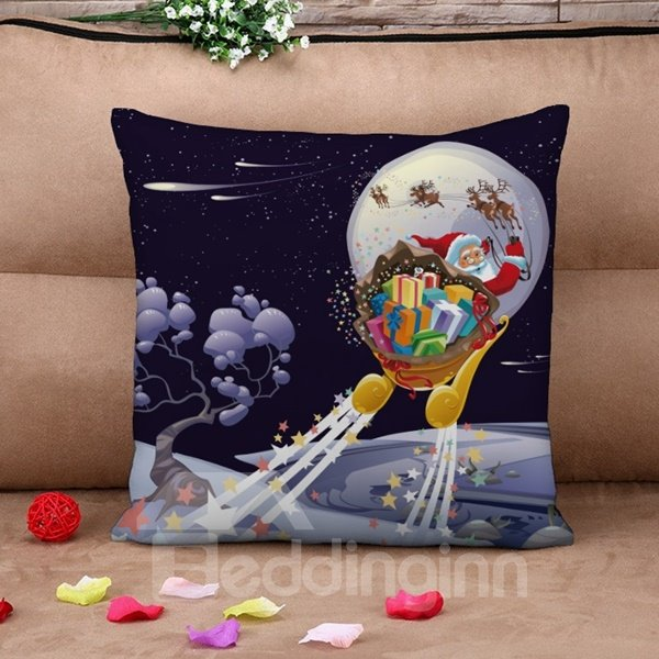 Christmas Santa Claus on Sleigh Print Throw Pillow Case